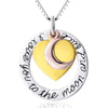 "Tri-Tone ""I Love You To The Moon and Back"" Heart and Moon Pendant Necklace - ABC Necklace"
