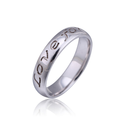 Sterling Silver Engraved Love Forever Ring - ABC Necklace
