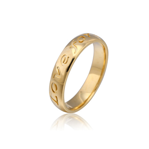 24K Gold Plated Engraved Love Forever Ring - ABC Necklace