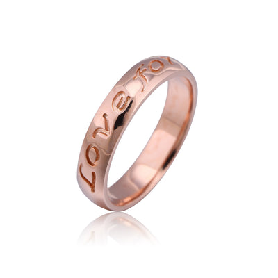 Rose Gold Plated Engraved Love Forever Ring - ABC Necklace
