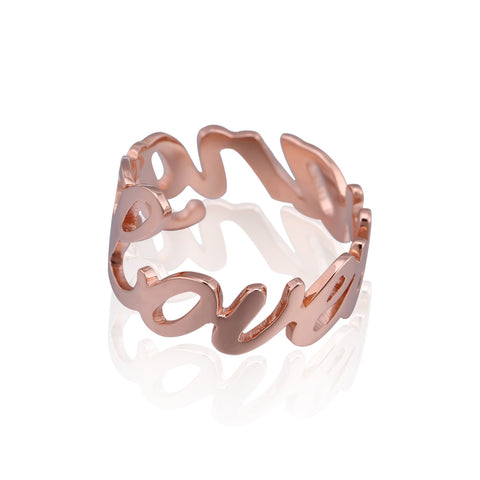 Rose Gold Plated Hollowed Out Love Name Ring - ABC Necklace