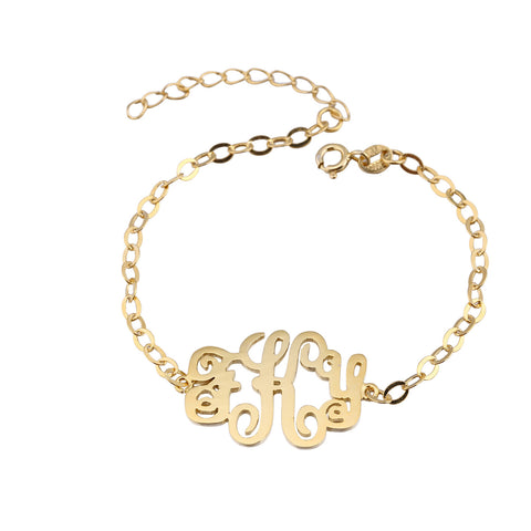 24K Gold Plated Monogram Bracelet - ABC Necklace