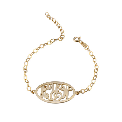 24K Gold Plated Circle Monogram Bracelet - ABC Necklace
