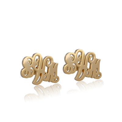 24K Gold Plated Monogram Ear Stud - ABC Necklace