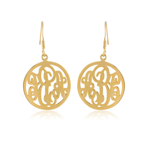 24K Gold Plated Circle Monogram Earrings - ABC Necklace