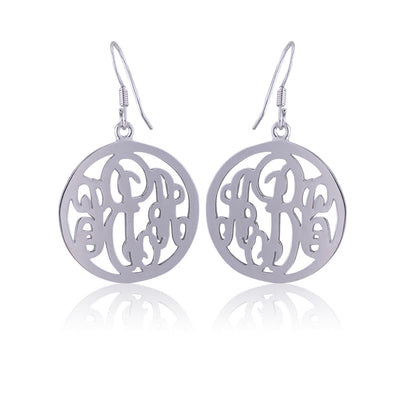 Sterling Silver Circle Monogram Earrings - ABC Necklace