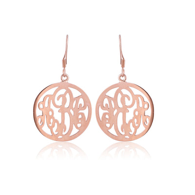 Rose Gold Plated Circle Monogram Earrings - ABC Necklace