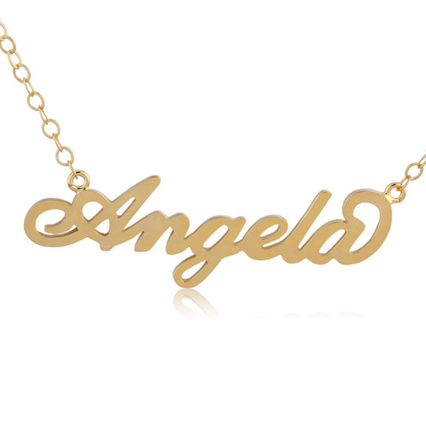 24K Gold Plated Angela Name Necklace - ABC Necklace