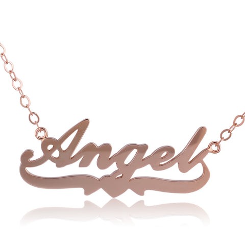 Rose Gold Plated Angel Name Necklace with Heart Below - ABC Necklace