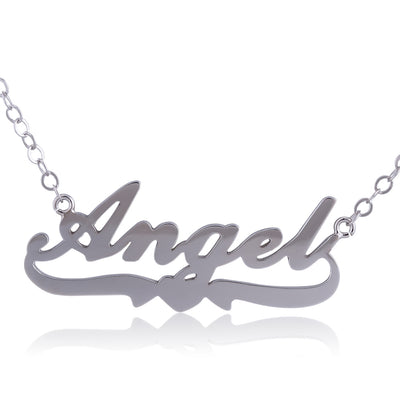 Sterling Silver Angel Name Necklace with Heart Below - ABC Necklace