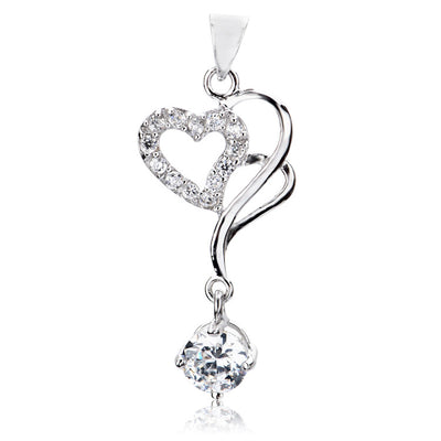 Sterling Silver Zirconia Heart Necklace Pendant Two Color for Option - ABC Necklace