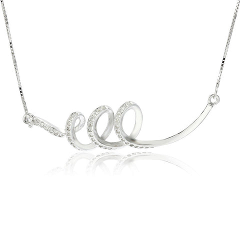 Sterling Silver Cubic Zirconia Letter e Pendant Necklace with Box Chain - ABC Necklace