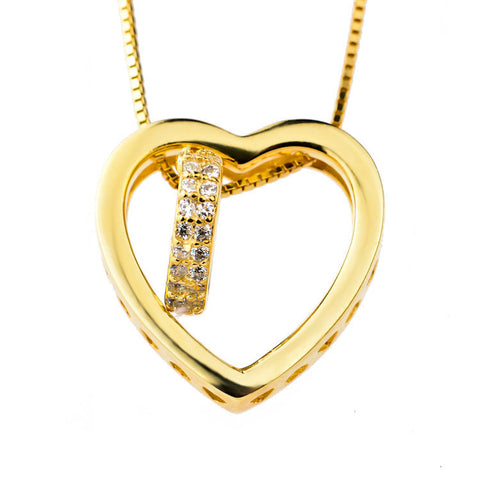 18K Gold Plated over Sterling Silver Cubic Zirconia Heart in Heart Pendant Necklace - ABC Necklace