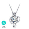 Sterling Silver Cubic Zirconia Horoscope Sign Zodiac Pendant Necklace - ABC Necklace