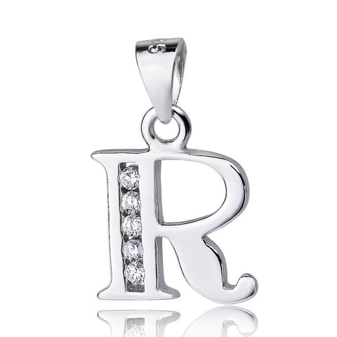 "Sterling Silver Cubic Zirconia Initial Letter R Pendant Necklace 18"" - ABC Necklace"