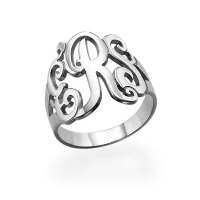Sterling Silver Monogram Ring - ABC Necklace