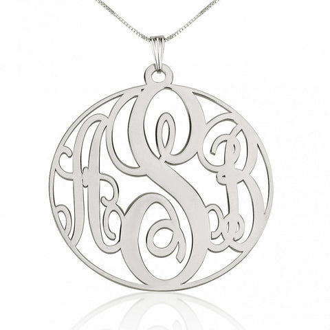 Sterling Silver Circle Monogram Necklace - ABC Necklace