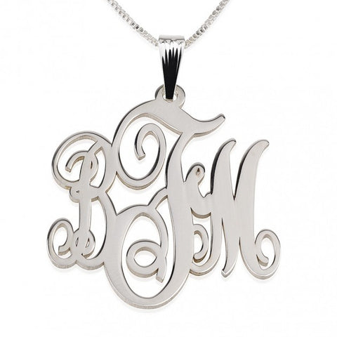 Sterling Silver Monogram Necklace - ABC Necklace