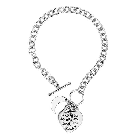 "Sterling Silver Women's Bracelets Sparkle ""I Love You To The Moon and Back"" Hand Chain - ABC Necklace"