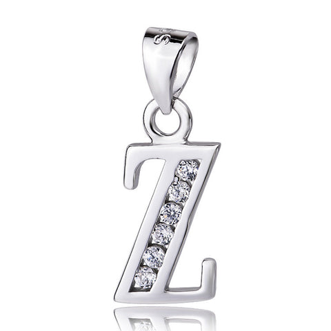 "Sterling Silver Cubic Zirconia Initial Letter Z Pendant Necklace 18"" - ABC Necklace"