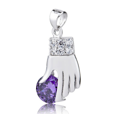 Sterling Silver Zironia Angel Hand with Amethyst Necklace Pendant - ABC Necklace