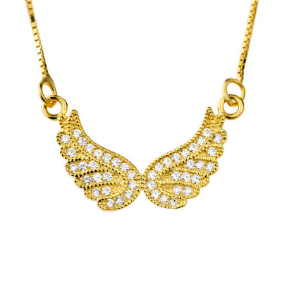 18K Gold Plated over Sterling Silver Angel Wings Necklace with Cubic Zirconia - ABC Necklace