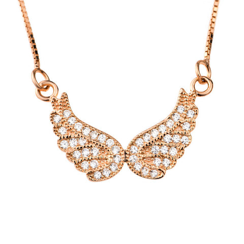 Rose Gold Plated over Sterling Silver Angel Wings Necklace with Cubic Zirconia - ABC Necklace