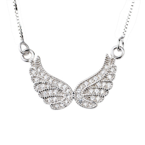 Sterling Silver Angel Wings Necklace with Cubic Zirconia - ABC Necklace