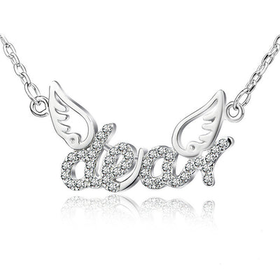 Sterling Silver Angel Wings Cubic Zirconia Dear Pendant Necklace - ABC Necklace