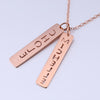 Rose Gold Plated Double Vertical Name Bar Pendant Necklace - ABC Necklace