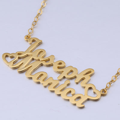 24K Gold Plated Two Name Necklace with Side Hearts - ABC Necklace