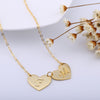 24K Gold Plated Double Hearts Engraved Initial Letter Pendant Necklace - ABC Necklace