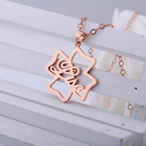 Rose Gold Plated Name in Happy Clover Pendant Name Necklace - ABC Necklace