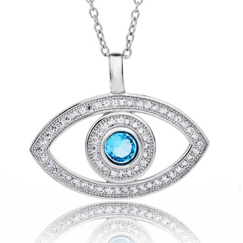 "Retro Style Sterling Silver Zirconia Eye Pendant Necklace with 18"" Rolo Chain - ABC Necklace"