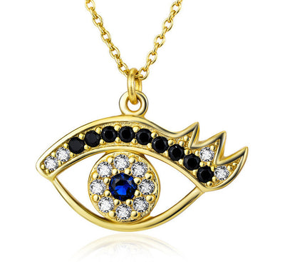 "18K Gold Plated over Sterling Silver Zirconia Eye Pendant Necklace 18"" - ABC Necklace"