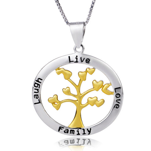 Sterling Silver Women's Necklaces Happy Tree Love Laugh Live Family Gold Pendant - ABC Necklace