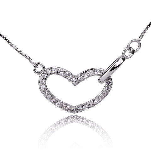"Sterling Silver Microsetting Heart Pendant Necklace with 16""+2"" Box Chain - ABC Necklace"