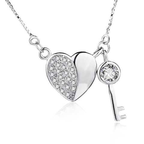 Sterling Silver Cubic Zirconia Heart and Key Pendant Necklace with Box Chain - ABC Necklace