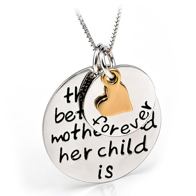 "Sterling Silver""love Between Mother and Child is Forever"" Box Chain Pendant Necklace, 18"" - ABC Necklace"