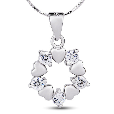 Sterling Silver Five Hearts and Five  Cubic Zirconia Pendant Necklace - ABC Necklace