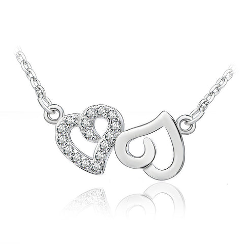 Sterling Silver Cubic Zirconia Heart to Heart Pendant Necklace with Rolo Chain - ABC Necklace