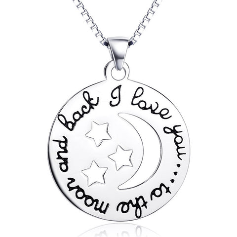 "Sterling Silver ""I love you to the moon and back"" Hallowed-out Moon and Stars Necklace - ABC Necklace"