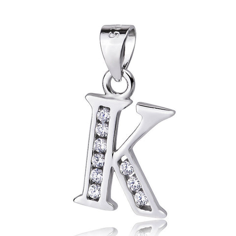 "Sterling Silver Cubic Zirconia Initial Letter K Pendant Necklace 18"" - ABC Necklace"