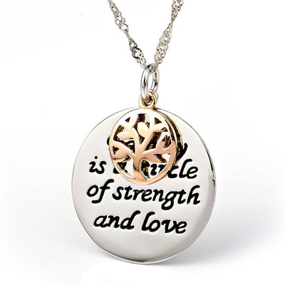"Two-Tone Silver Tree of Life Charm Necklace Engraved with ""Family is a circle of strength and love"" , 17 inches - ABC Necklace"