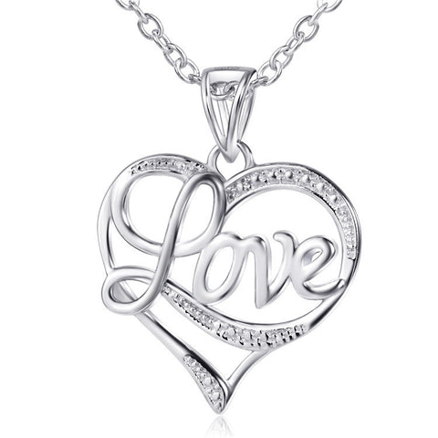 Sterling Silver Cubic Zirconia Love in Heart Pendant Necklace Rolo Chain - ABC Necklace