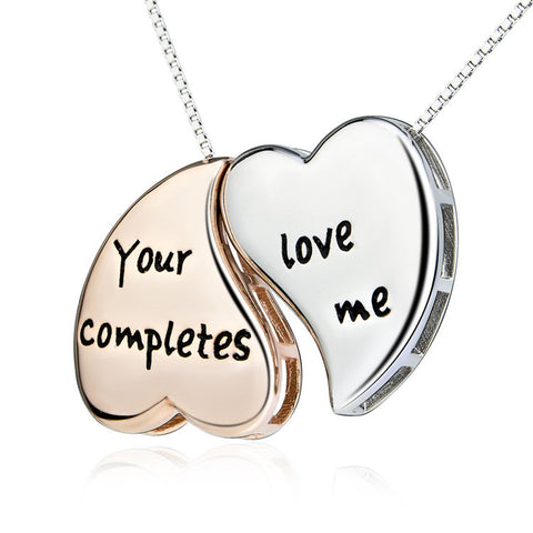 "Sterling Silver Two-tone Double Heart ""Your Love Completes Me"" Pendant Necklace 18"" - ABC Necklace"