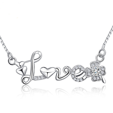 Sterling Silver Love Necklace with Shining Zircon - ABC Necklace
