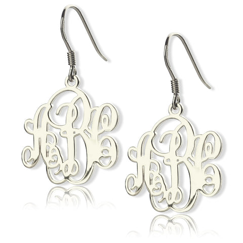 Sterling Silver Monogram Earrings - ABC Necklace