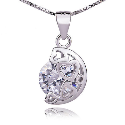 "Sterling Silver Moon and Hearts with Zircon Pendant Necklace 16+1.5"" Box Chain - ABC Necklace"