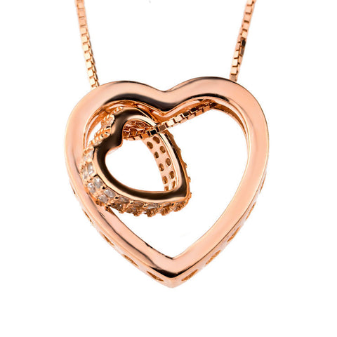 Rose Gold Plated over Sterling Silver Cubic Zirconia Heart in Heart Pendant Necklace - ABC Necklace